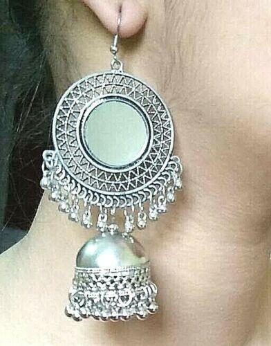 Indian Boho Kashmiri Silver Plated Oxidized Jhumki Mugal Jhumka Bollywood