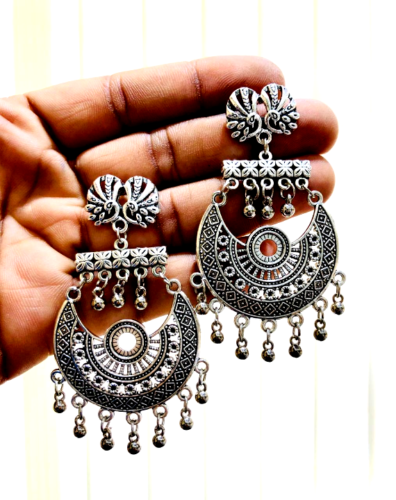 Handmade Indian Oxidized Silver Plated Ethnic Long Earrings Indian Style